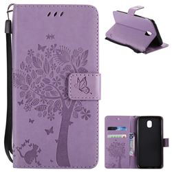 Embossing Butterfly Tree Leather Wallet Case for Samsung Galaxy J5 2017 J530 Eurasian - Violet