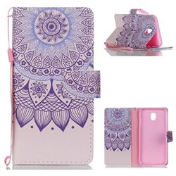 Purple Sunflower Leather Wallet Phone Case for Samsung Galaxy J5 2017 J530 Eurasian