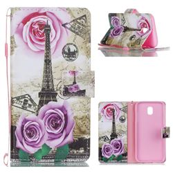 Rose Eiffel Tower Leather Wallet Phone Case for Samsung Galaxy J5 2017 J530 Eurasian