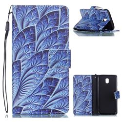 Blue Feather Leather Wallet Phone Case for Samsung Galaxy J5 2017 J530 Eurasian