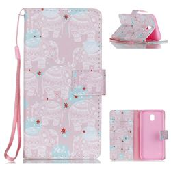 Pink Elephant Leather Wallet Phone Case for Samsung Galaxy J5 2017 J530 Eurasian