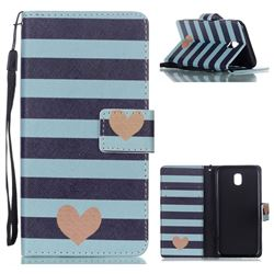 Blue Stripe Heart Leather Wallet Phone Case for Samsung Galaxy J5 2017 J530 Eurasian