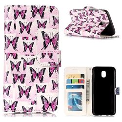 Butterflies Stickers 3D Relief Oil PU Leather Wallet Case for Samsung Galaxy J5 2017 J530 Eurasian