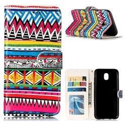 Tribal Pattern 3D Relief Oil PU Leather Wallet Case for Samsung Galaxy J5 2017 J530 Eurasian