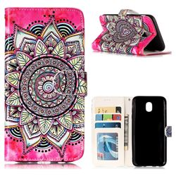 Rose Mandala 3D Relief Oil PU Leather Wallet Case for Samsung Galaxy J5 2017 J530 Eurasian