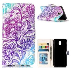Purple Lotus 3D Relief Oil PU Leather Wallet Case for Samsung Galaxy J5 2017 J530 Eurasian