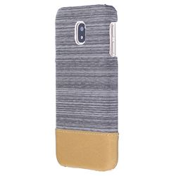 Canvas Cloth Coated Plastic Back Cover for Samsung Galaxy J5 2017 J530 Eurasian - Light Grey
