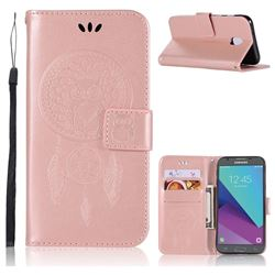 Intricate Embossing Owl Campanula Leather Wallet Case for Samsung Galaxy J5 2017 J530 Eurasian - Rose Gold