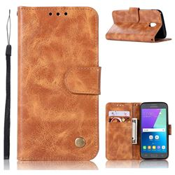 Luxury Retro Leather Wallet Case for Samsung Galaxy J5 2017 J530 Eurasian - Golden