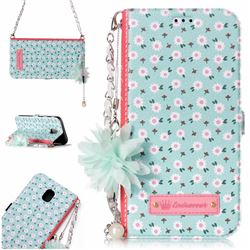 Daisy Endeavour Florid Pearl Flower Pendant Metal Strap PU Leather Wallet Case for Samsung Galaxy J5 2017 J530 Eurasian