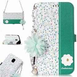 Magnolia Endeavour Florid Pearl Flower Pendant Metal Strap PU Leather Wallet Case for Samsung Galaxy J5 2017 J530 Eurasian