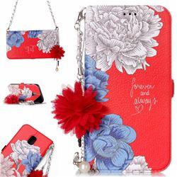 Red Chrysanthemum Endeavour Florid Pearl Flower Pendant Metal Strap PU Leather Wallet Case for Samsung Galaxy J5 2017 J530 Eurasian