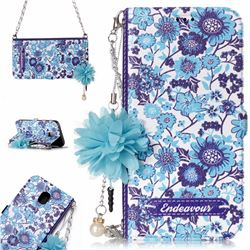 Blue-and-White Endeavour Florid Pearl Flower Pendant Metal Strap PU Leather Wallet Case for Samsung Galaxy J5 2017 J530 Eurasian