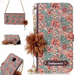 Impatiens Endeavour Florid Pearl Flower Pendant Metal Strap PU Leather Wallet Case for Samsung Galaxy J5 2017 J530 Eurasian