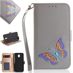 Imprint Embossing Butterfly Leather Wallet Case for Samsung Galaxy J5 2017 J530 Eurasian - Grey