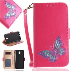 Imprint Embossing Butterfly Leather Wallet Case for Samsung Galaxy J5 2017 J530 Eurasian - Rose Red