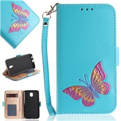 Imprint Embossing Butterfly Leather Wallet Case for Samsung Galaxy J5 2017 J530 Eurasian - Sky Blue