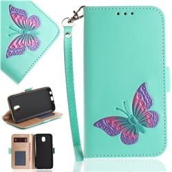 Imprint Embossing Butterfly Leather Wallet Case for Samsung Galaxy J5 2017 J530 Eurasian - Mint Green