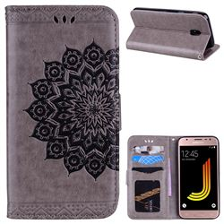 Datura Flowers Flash Powder Leather Wallet Holster Case for Samsung Galaxy J5 2017 J530 Eurasian - Gray