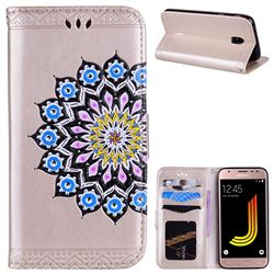 Datura Flowers Flash Powder Leather Wallet Holster Case for Samsung Galaxy J5 2017 J530 Eurasian - Golden