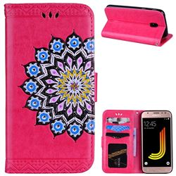 Datura Flowers Flash Powder Leather Wallet Holster Case for Samsung Galaxy J5 2017 J530 Eurasian - Rose