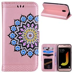 Datura Flowers Flash Powder Leather Wallet Holster Case for Samsung Galaxy J5 2017 J530 Eurasian - Pink