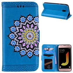 Datura Flowers Flash Powder Leather Wallet Holster Case for Samsung Galaxy J5 2017 J530 Eurasian - Blue