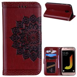 Datura Flowers Flash Powder Leather Wallet Holster Case for Samsung Galaxy J5 2017 J530 Eurasian - Brown