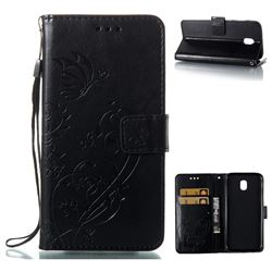 Embossing Butterfly Flower Leather Wallet Case for Samsung Galaxy J5 2017 J530 Eurasian - Black