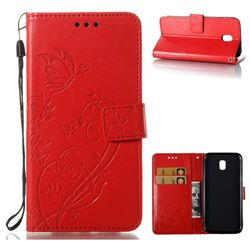 Embossing Butterfly Flower Leather Wallet Case for Samsung Galaxy J5 2017 J530 Eurasian - Red