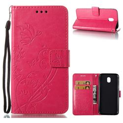 Embossing Butterfly Flower Leather Wallet Case for Samsung Galaxy J5 2017 J530 Eurasian - Rose