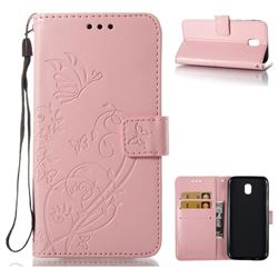 Embossing Butterfly Flower Leather Wallet Case for Samsung Galaxy J5 2017 J530 Eurasian - Pink