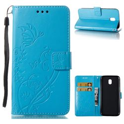 Embossing Butterfly Flower Leather Wallet Case for Samsung Galaxy J5 2017 J530 Eurasian - Blue