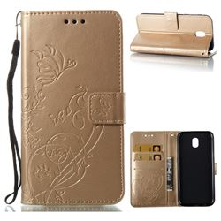 Embossing Butterfly Flower Leather Wallet Case for Samsung Galaxy J5 2017 J530 Eurasian - Champagne