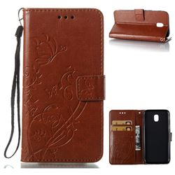 Embossing Butterfly Flower Leather Wallet Case for Samsung Galaxy J5 2017 J530 Eurasian - Brown