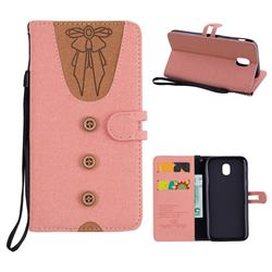 Ladies Bow Clothes Pattern Leather Wallet Phone Case for Samsung Galaxy J5 2017 J530 Eurasian - Pink