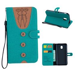Ladies Bow Clothes Pattern Leather Wallet Phone Case for Samsung Galaxy J5 2017 J530 Eurasian - Green