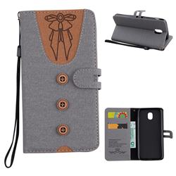 Ladies Bow Clothes Pattern Leather Wallet Phone Case for Samsung Galaxy J5 2017 J530 Eurasian - Gray