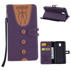 Ladies Bow Clothes Pattern Leather Wallet Phone Case for Samsung Galaxy J5 2017 J530 Eurasian - Purple