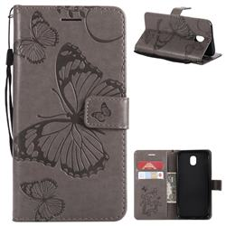 Embossing 3D Butterfly Leather Wallet Case for Samsung Galaxy J5 2017 J530 Eurasian - Gray