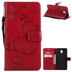 Embossing 3D Butterfly Leather Wallet Case for Samsung Galaxy J5 2017 J530 Eurasian - Red