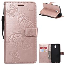 Embossing 3D Butterfly Leather Wallet Case for Samsung Galaxy J5 2017 J530 Eurasian - Rose Gold