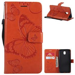 Embossing 3D Butterfly Leather Wallet Case for Samsung Galaxy J5 2017 J530 Eurasian - Orange