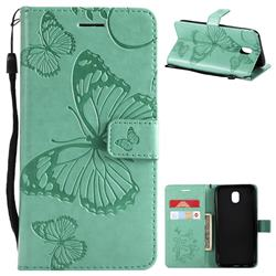 Embossing 3D Butterfly Leather Wallet Case for Samsung Galaxy J5 2017 J530 Eurasian - Green