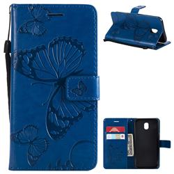 Embossing 3D Butterfly Leather Wallet Case for Samsung Galaxy J5 2017 J530 Eurasian - Blue