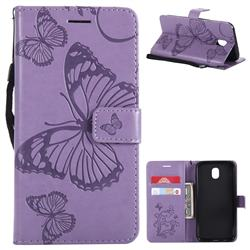 Embossing 3D Butterfly Leather Wallet Case for Samsung Galaxy J5 2017 J530 Eurasian - Purple