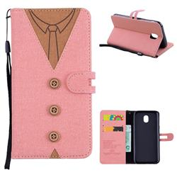 Mens Button Clothing Style Leather Wallet Phone Case for Samsung Galaxy J5 2017 J530 Eurasian - Pink