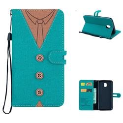 Mens Button Clothing Style Leather Wallet Phone Case for Samsung Galaxy J5 2017 J530 Eurasian - Green