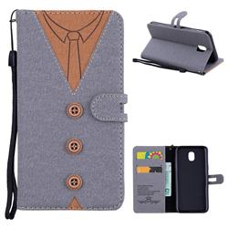 Mens Button Clothing Style Leather Wallet Phone Case for Samsung Galaxy J5 2017 J530 Eurasian - Gray