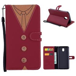 Mens Button Clothing Style Leather Wallet Phone Case for Samsung Galaxy J5 2017 J530 Eurasian - Red